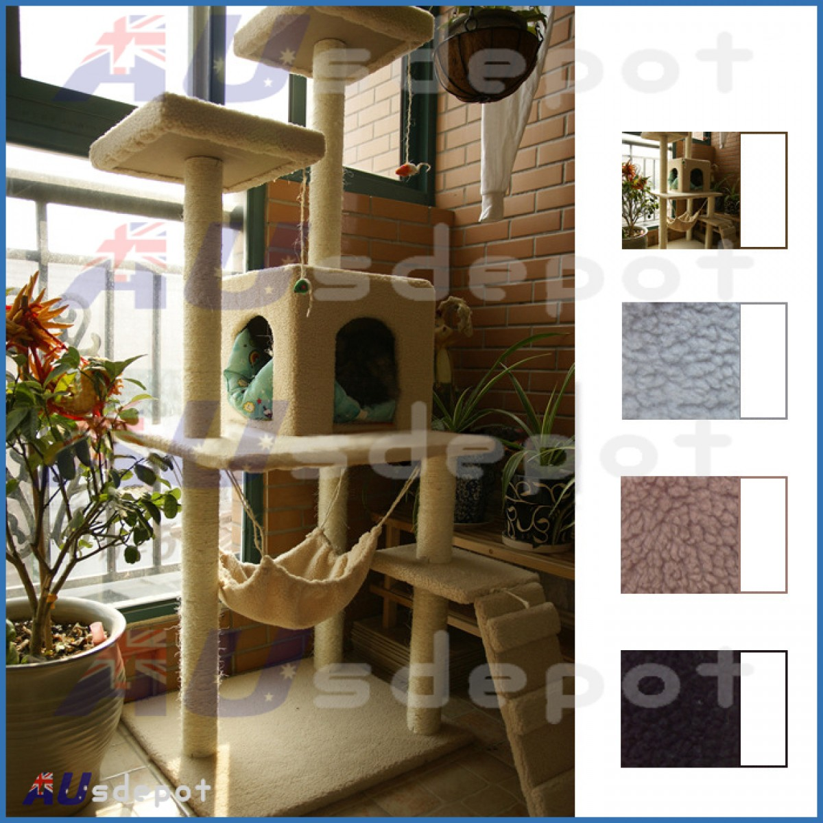 1232624599af Cat Tree Scratch Post Furniture House Condo Gym Home Bed Sisal Plush Beige