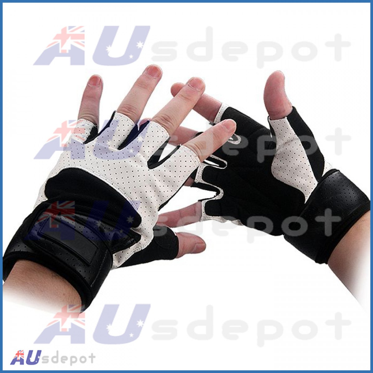 Gym Gloves Weight Lifting Leather Wrist Support Glove Aud: Gym Gloves Weight Lifting Leather Wrist Support Glove AUD
