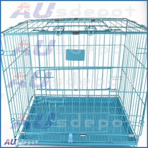 2 Door Collapsible Pet Dog Metal Crate Cage Cat Puppy Portable House
