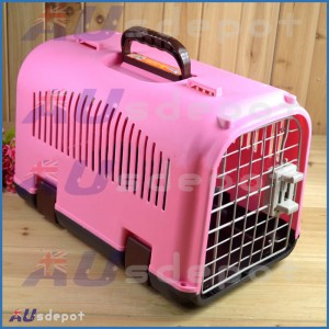 New Pink Pet dog cat rabbit airline travel portable plastic cage carrier bag house crate