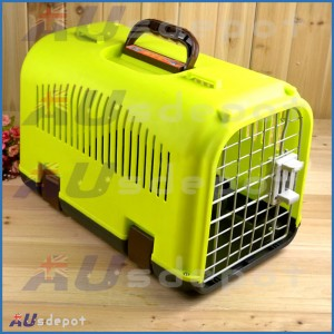 New Pink Green dog cat rabbit airline travel portable plastic cage carrier bag house crate