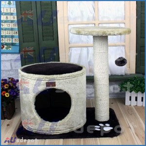 Cat Tree Scratching Post Pole 2 Levels Cat Cave Bed Plush Surface w/ Cylinder
